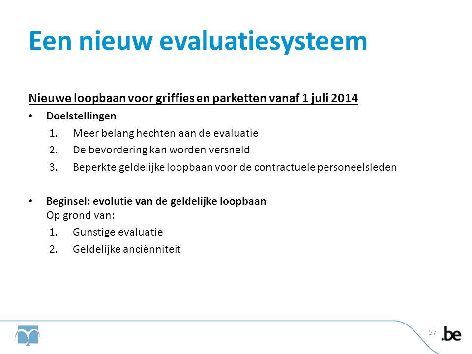 Een nieuw evaluatiesysteem Nieuwe loopbaan voor griffies en parketten vanaf 1 juli 2014 • Doelstellingen 1.Meer belang hechten aan de evaluatie 2.De b