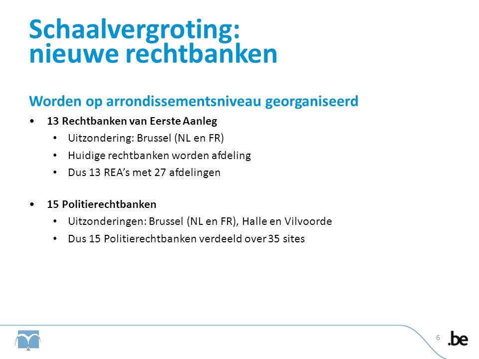 Schaalvergroting: nieuwe rechtbanken Worden op arrondissementsniveau georganiseerd •13 Rechtbanken van Eerste Aanleg • Uitzondering: Brussel (NL en FR