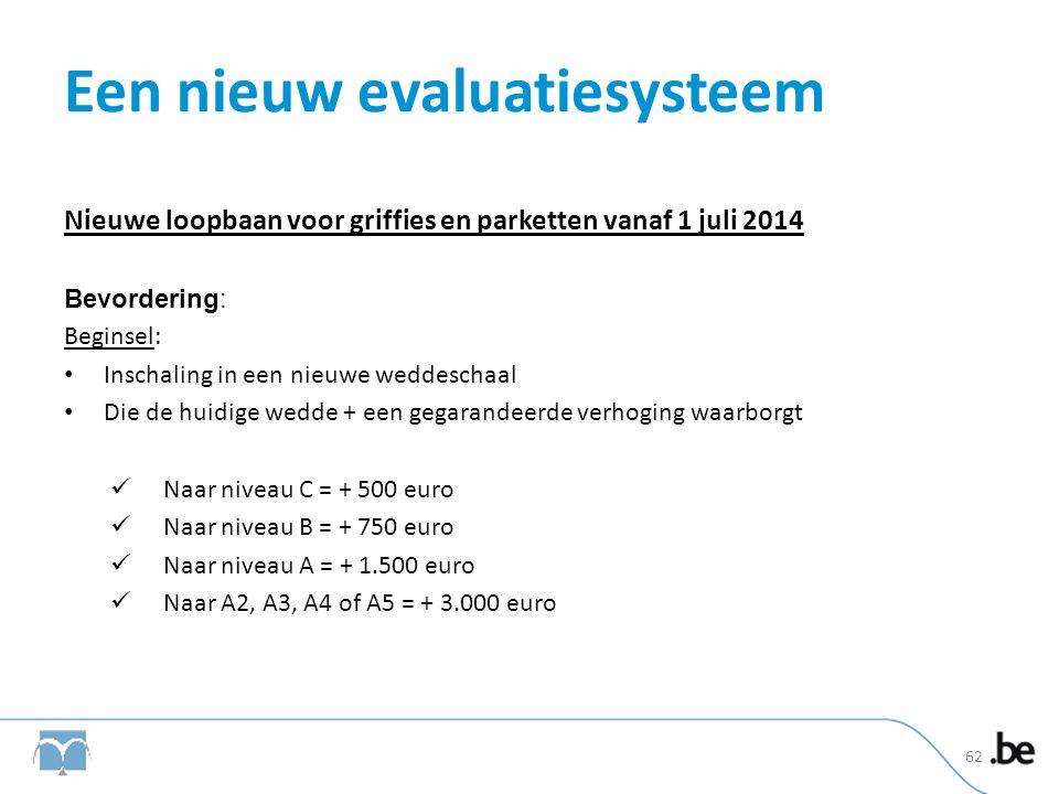 Een nieuw evaluatiesysteem Nieuwe loopbaan voor griffies en parketten vanaf 1 juli 2014 Bevordering: Beginsel: • Inschaling in een nieuwe weddeschaal
