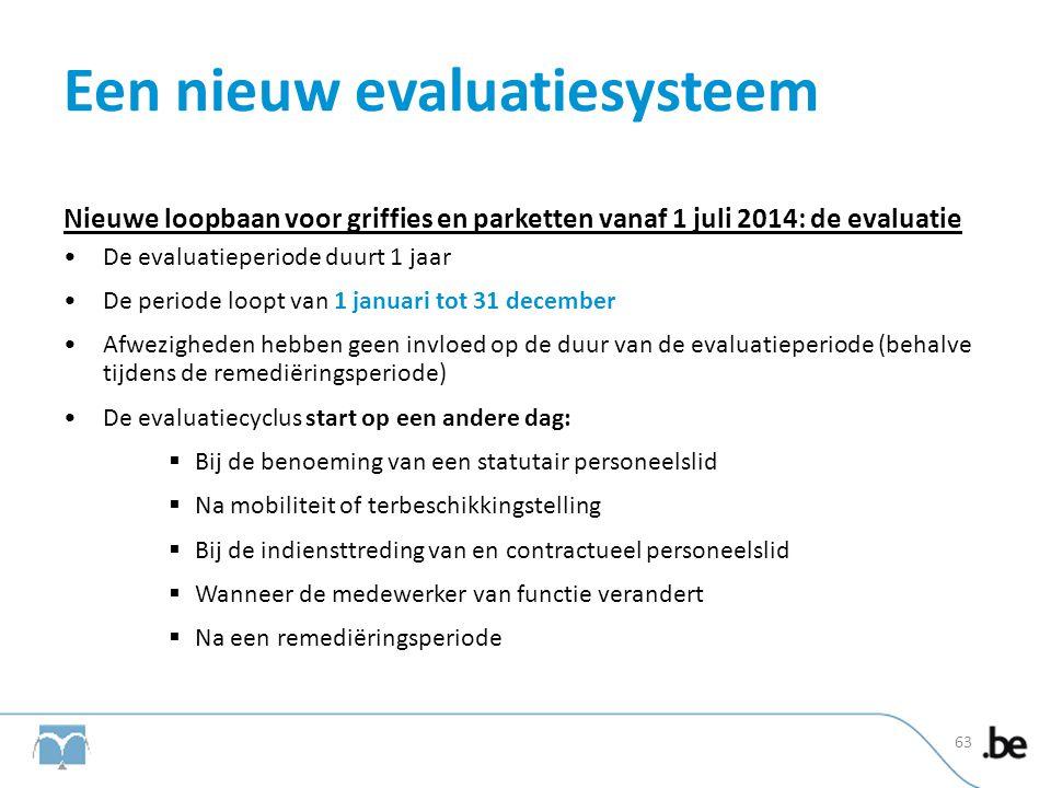Een nieuw evaluatiesysteem Nieuwe loopbaan voor griffies en parketten vanaf 1 juli 2014: de evaluatie •De evaluatieperiode duurt 1 jaar •De periode lo