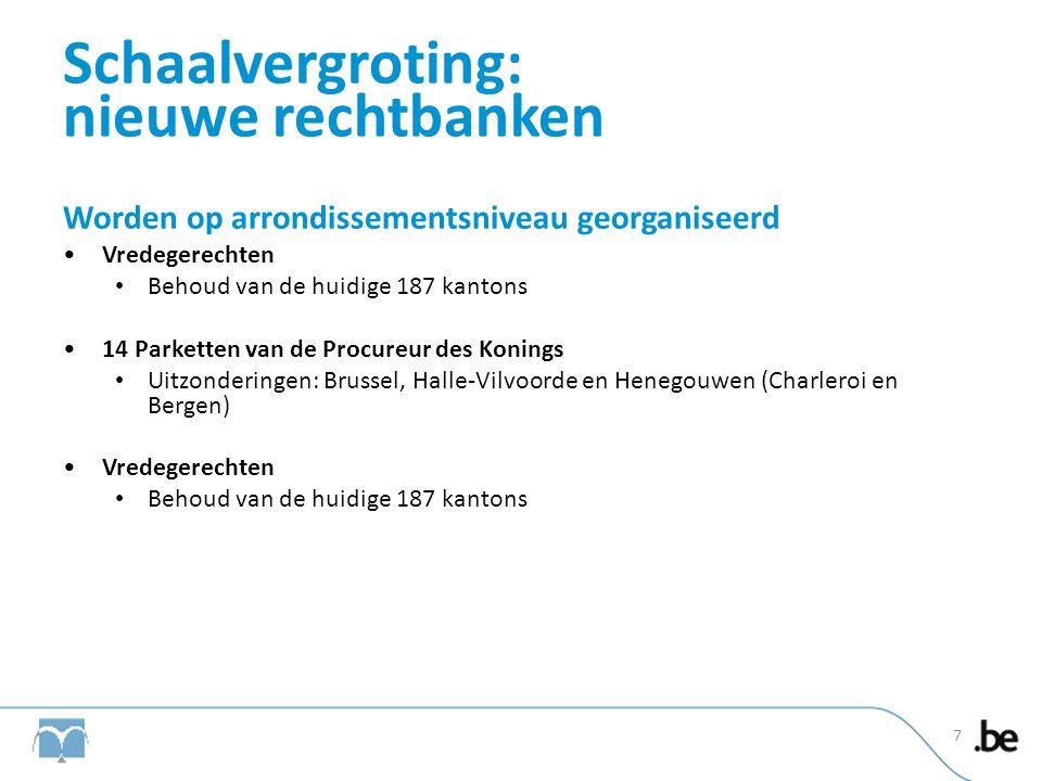 Schaalvergroting: nieuwe rechtbanken Worden op arrondissementsniveau georganiseerd •Vredegerechten • Behoud van de huidige 187 kantons •14 Parketten v