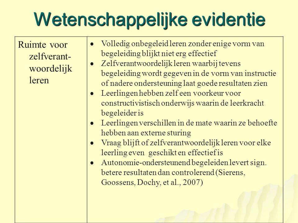 Wetenschappelijke evidentie Ruimte voor zelfverant- woordelijk leren  Volledig onbegeleid leren zonder enige vorm van begeleiding blijkt niet erg eff