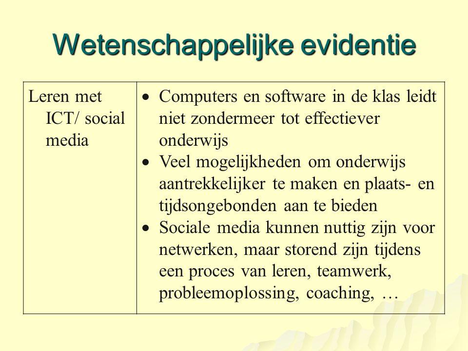 Wetenschappelijke evidentie Leren met ICT/ social media  Computers en software in de klas leidt niet zondermeer tot effectiever onderwijs  Veel moge