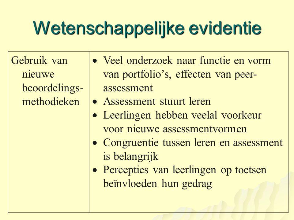 Wetenschappelijke evidentie Gebruik van nieuwe beoordelings- methodieken  Veel onderzoek naar functie en vorm van portfolio's, effecten van peer- ass