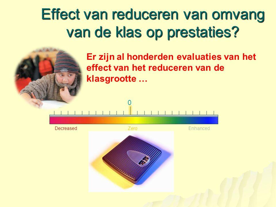 Effect van reduceren van omvang van de klas op prestaties? DecreasedEnhancedZero 0 Er zijn al honderden evaluaties van het effect van het reduceren va