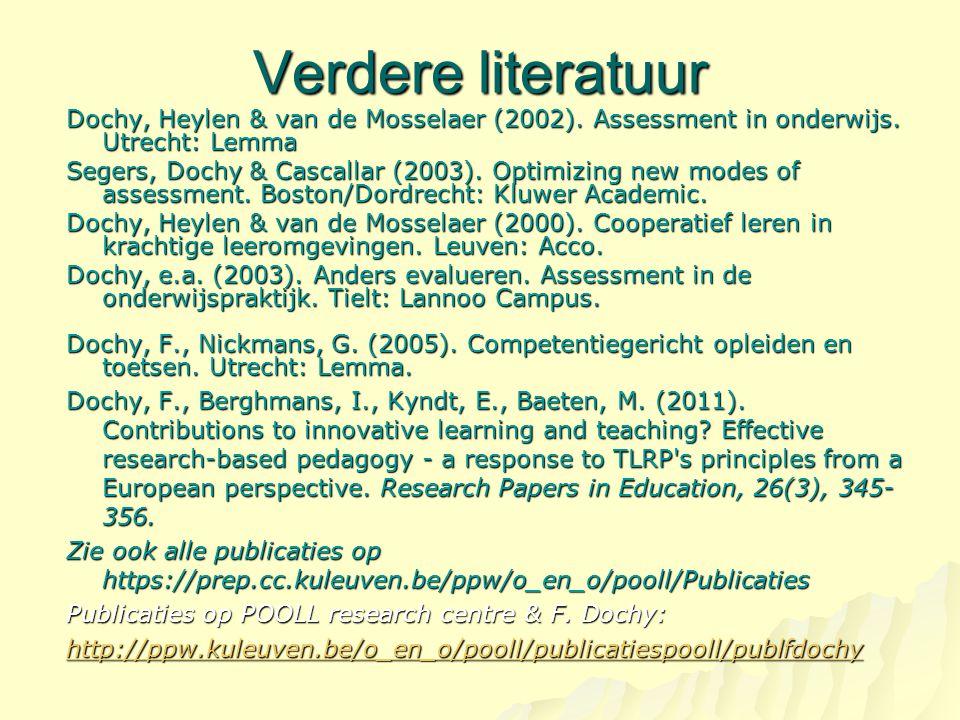 Verdere literatuur Dochy, Heylen & van de Mosselaer (2002). Assessment in onderwijs. Utrecht: Lemma Segers, Dochy & Cascallar (2003). Optimizing new m