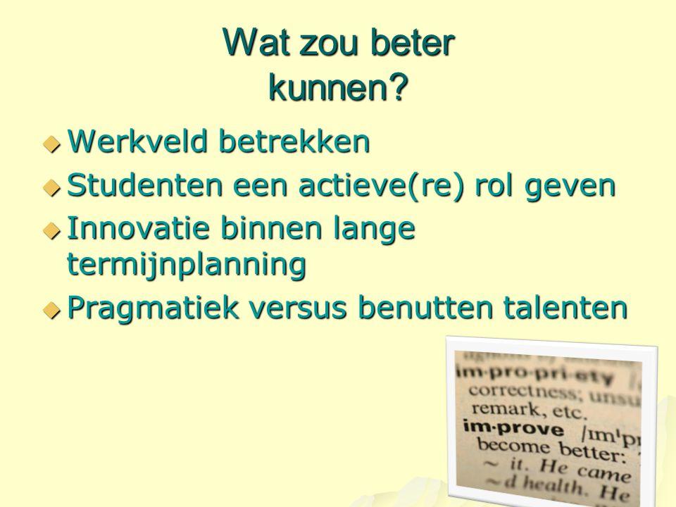 Wat zou beter kunnen?  Werkveld betrekken  Studenten een actieve(re) rol geven  Innovatie binnen lange termijnplanning  Pragmatiek versus benutten