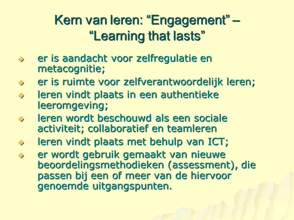 """Kern van leren: """"Engagement"""" – """"Learning that lasts""""  er is aandacht voor zelfregulatie en metacognitie;  er is ruimte voor zelfverantwoordelijk ler"""