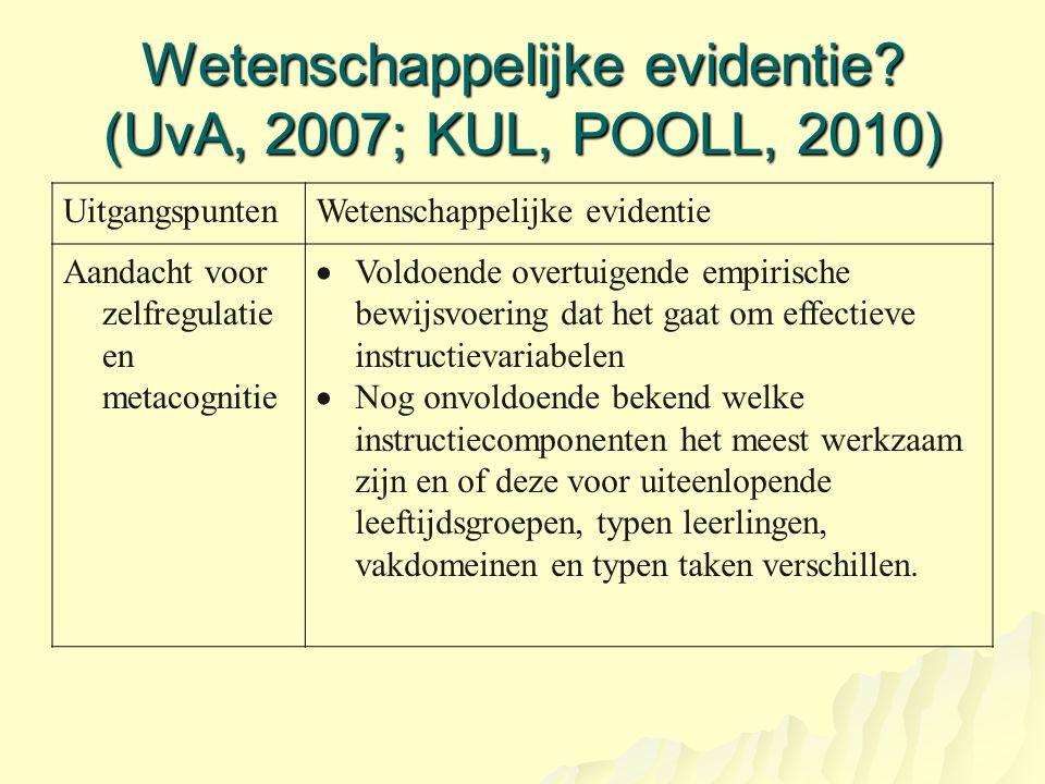 Wetenschappelijke evidentie? (UvA, 2007; KUL, POOLL, 2010) UitgangspuntenWetenschappelijke evidentie Aandacht voor zelfregulatie en metacognitie  Vol