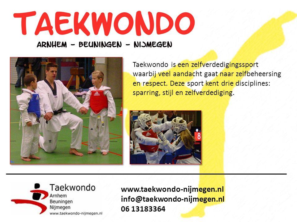 Taekwondo is een zelfverdedigingssport waarbij veel aandacht gaat naar zelfbeheersing en respect.
