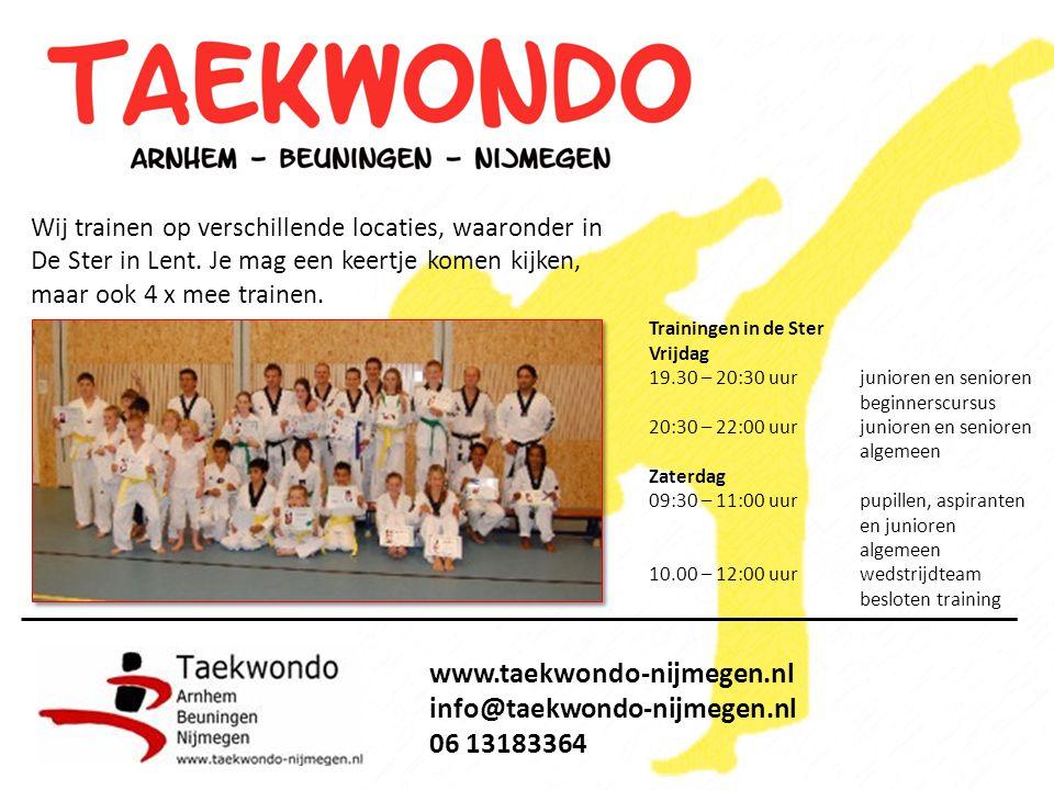 www.taekwondo-nijmegen.nl info@taekwondo-nijmegen.nl 06 13183364 Voor wie?Jongens en meisjes tussen 6-12 jaar Wanneer?Start op zaterdag 1 oktober 2011 Hoe laat?9:30 - 11:00 uur Waar?De Ster in Lent.
