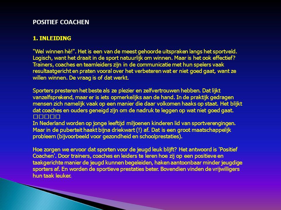 POSITIEF COACHEN 1. INLEIDING