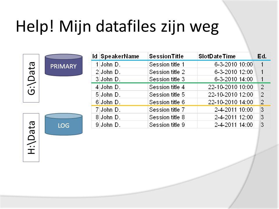 Help! Mijn datafiles zijn weg PRIMARY G:\Data LOG H:\Data