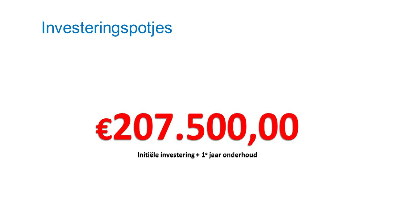 Investeringspotjes € 207.500,00 Initiële investering + 1 e jaar onderhoud