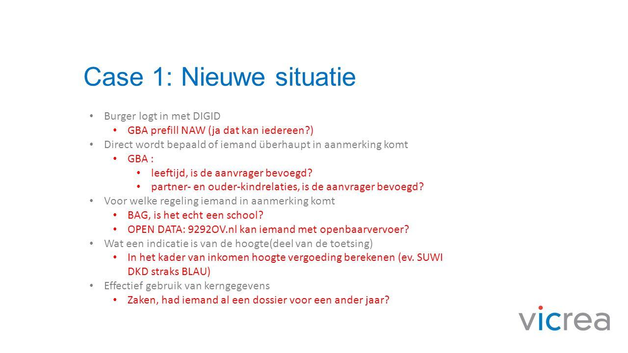 Case 1: Nieuwe situatie • Burger logt in met DIGID • GBA prefill NAW (ja dat kan iedereen?) • Direct wordt bepaald of iemand überhaupt in aanmerking k
