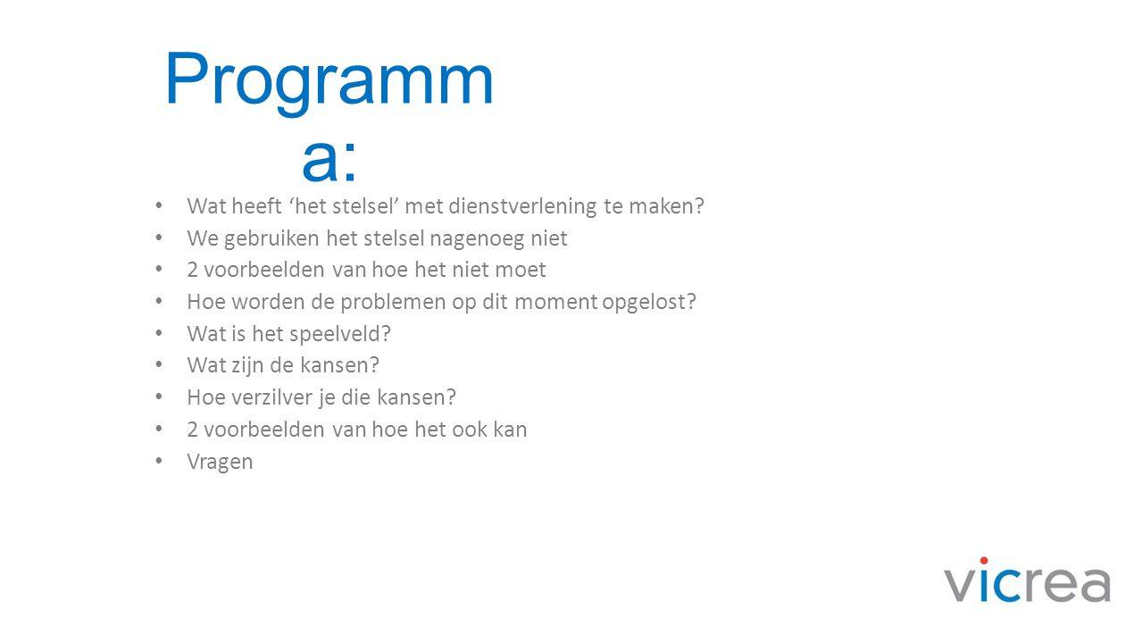 Programm a: • Wat heeft 'het stelsel' met dienstverlening te maken? • We gebruiken het stelsel nagenoeg niet • 2 voorbeelden van hoe het niet moet • H