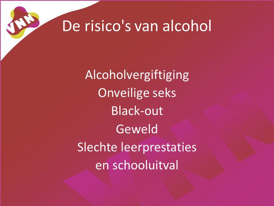 De risico's van alcohol Alcoholvergiftiging Onveilige seks Black-out Geweld Slechte leerprestaties en schooluitval