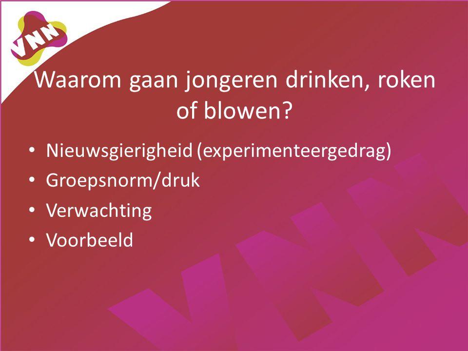 Waarom gaan jongeren drinken, roken of blowen? • Nieuwsgierigheid (experimenteergedrag) • Groepsnorm/druk • Verwachting • Voorbeeld