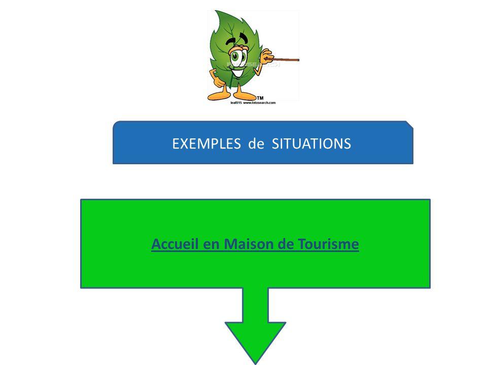 EXEMPLES de SITUATIONS Accueil en Maison de Tourisme