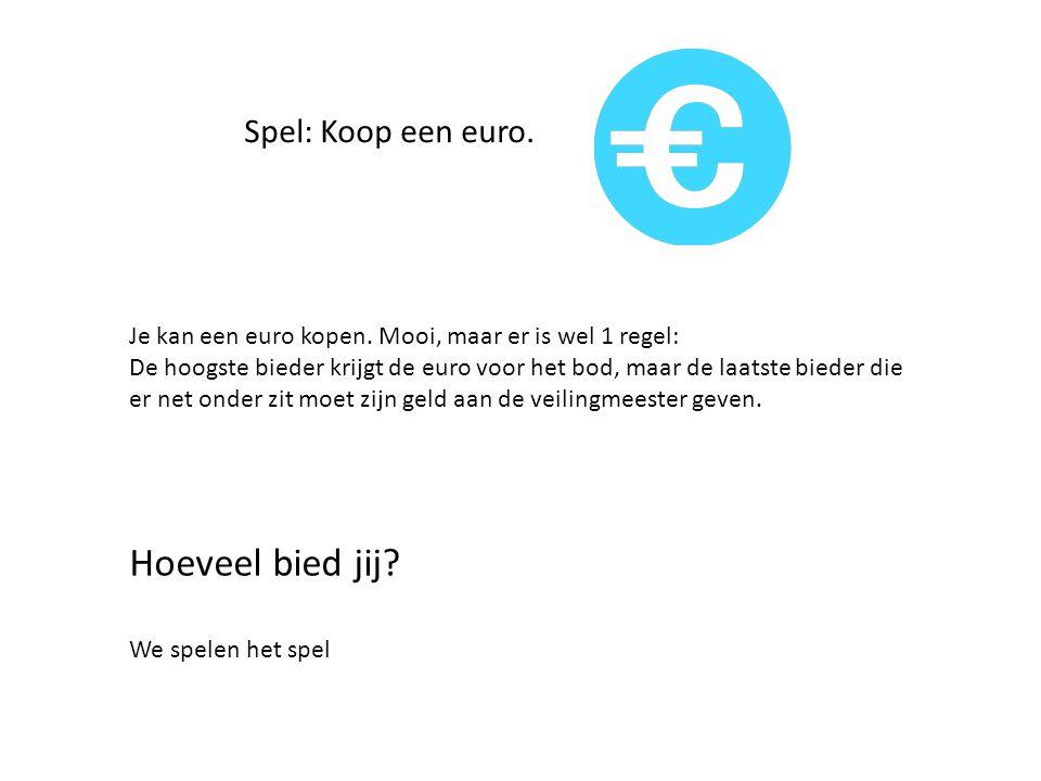 Spel: Koop een euro. Je kan een euro kopen.