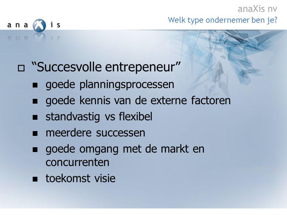  Succesvolle entrepeneur  goede planningsprocessen  goede kennis van de externe factoren  standvastig vs flexibel  meerdere successen  goede omgang met de markt en concurrenten  toekomst visie Welk type ondernemer ben je.