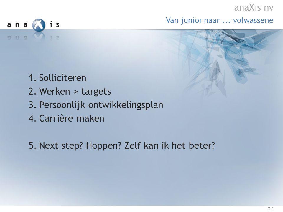 1.Solliciteren 2.Werken > targets 3.Persoonlijk ontwikkelingsplan 4.Carrière maken 5.Next step.