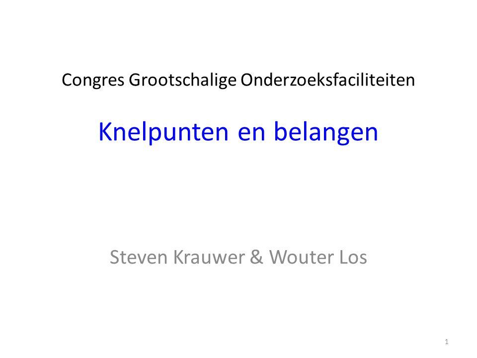 Congres Grootschalige Onderzoeksfaciliteiten Knelpunten en belangen Steven Krauwer & Wouter Los 1