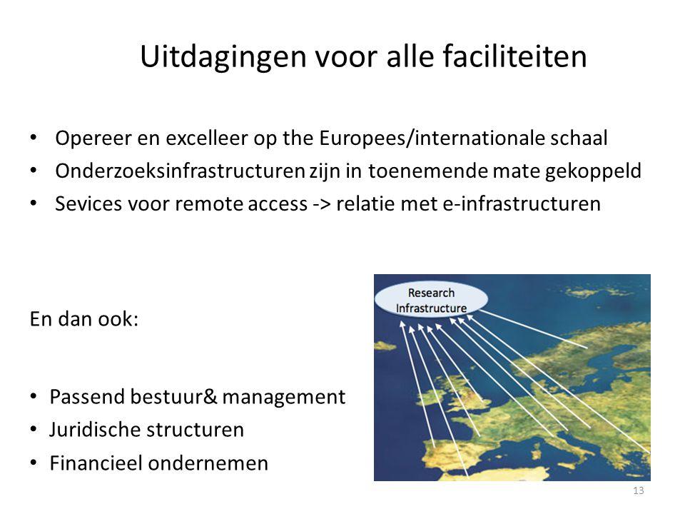 Uitdagingen voor alle faciliteiten • Opereer en excelleer op the Europees/internationale schaal • Onderzoeksinfrastructuren zijn in toenemende mate gekoppeld • Sevices voor remote access -> relatie met e-infrastructuren En dan ook: • Passend bestuur& management • Juridische structuren • Financieel ondernemen 13