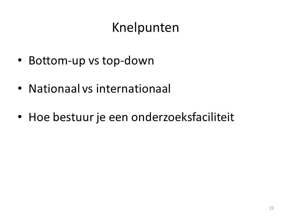 Knelpunten • Bottom-up vs top-down • Nationaal vs internationaal • Hoe bestuur je een onderzoeksfaciliteit 19