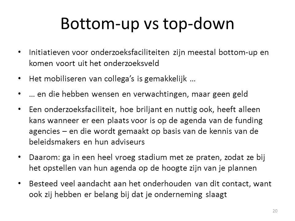 Bottom-up vs top-down • Initiatieven voor onderzoeksfaciliteiten zijn meestal bottom-up en komen voort uit het onderzoeksveld • Het mobiliseren van collega's is gemakkelijk … • … en die hebben wensen en verwachtingen, maar geen geld • Een onderzoeksfaciliteit, hoe briljant en nuttig ook, heeft alleen kans wanneer er een plaats voor is op de agenda van de funding agencies – en die wordt gemaakt op basis van de kennis van de beleidsmakers en hun adviseurs • Daarom: ga in een heel vroeg stadium met ze praten, zodat ze bij het opstellen van hun agenda op de hoogte zijn van je plannen • Besteed veel aandacht aan het onderhouden van dit contact, want ook zij hebben er belang bij dat je onderneming slaagt 20