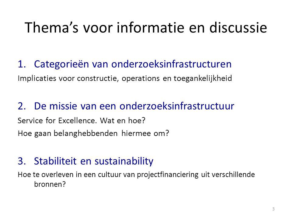 Thema's voor informatie en discussie 1.Categorieën van onderzoeksinfrastructuren Implicaties voor constructie, operations en toegankelijkheid 2.De missie van een onderzoeksinfrastructuur Service for Excellence.