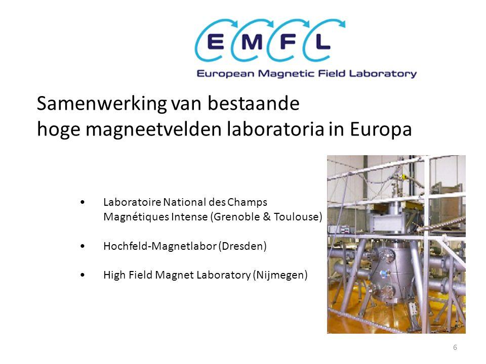 Samenwerking van bestaande hoge magneetvelden laboratoria in Europa • Laboratoire National des Champs Magnétiques Intense (Grenoble & Toulouse) • Hochfeld-Magnetlabor (Dresden) • High Field Magnet Laboratory (Nijmegen) 6
