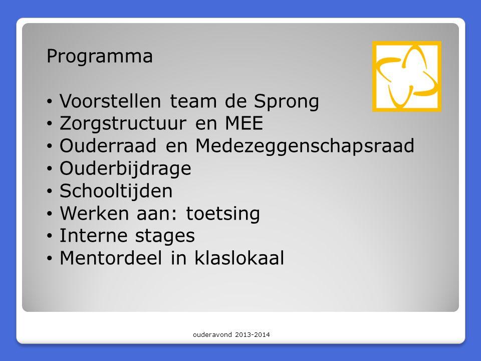Programma • Voorstellen team de Sprong • Zorgstructuur en MEE • Ouderraad en Medezeggenschapsraad • Ouderbijdrage • Schooltijden • Werken aan: toetsing • Interne stages • Mentordeel in klaslokaal ouderavond 2013-2014
