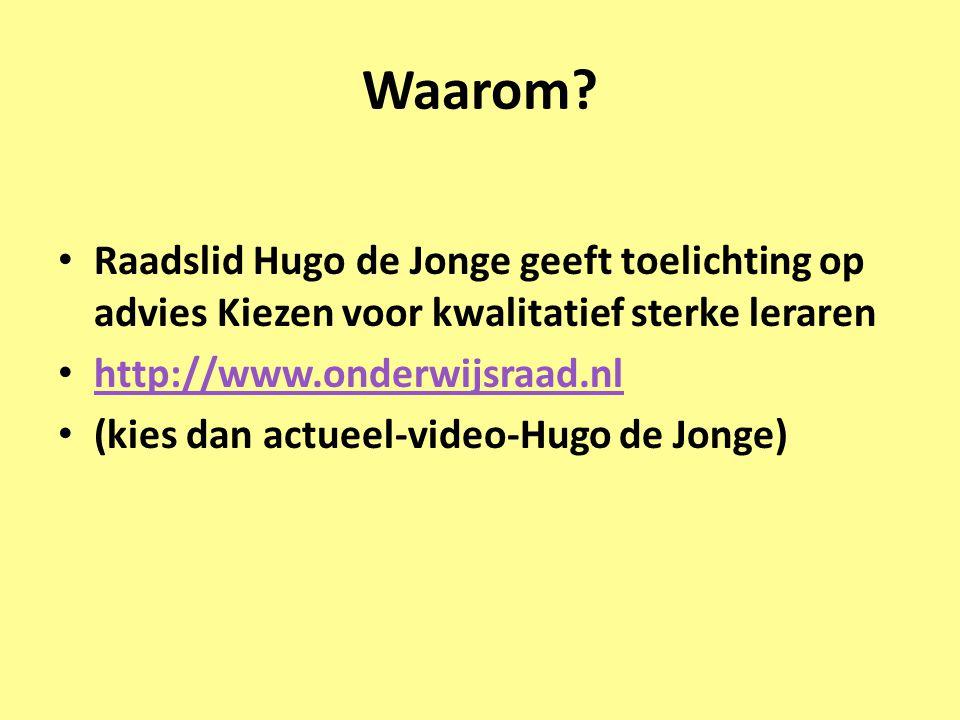 Waarom? • Raadslid Hugo de Jonge geeft toelichting op advies Kiezen voor kwalitatief sterke leraren • http://www.onderwijsraad.nl http://www.onderwijs