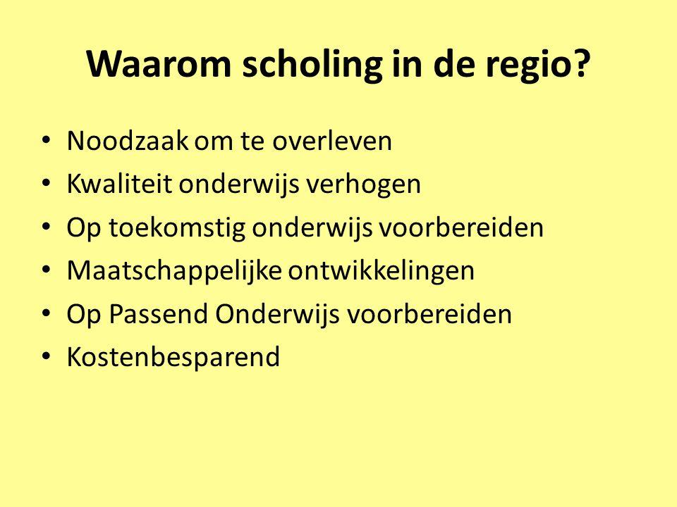 Waarom scholing in de regio? • Noodzaak om te overleven • Kwaliteit onderwijs verhogen • Op toekomstig onderwijs voorbereiden • Maatschappelijke ontwi