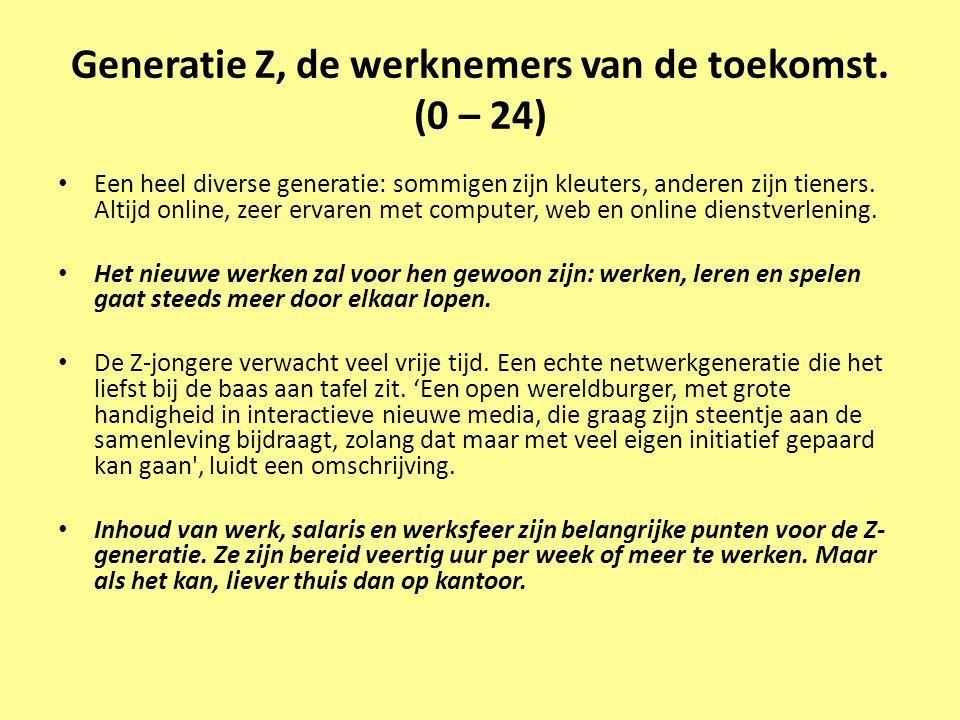 Generatie Z, de werknemers van de toekomst. (0 – 24) • Een heel diverse generatie: sommigen zijn kleuters, anderen zijn tieners. Altijd online, zeer e