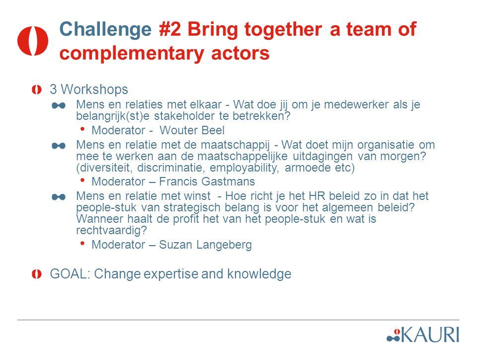 Challenge #2 Bring together a team of complementary actors 3 Workshops Mens en relaties met elkaar - Wat doe jij om je medewerker als je belangrijk(st)e stakeholder te betrekken.