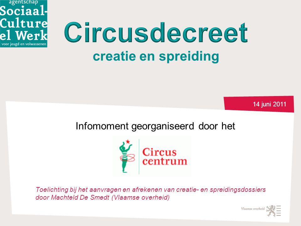 14 juni 2011 Infomoment georganiseerd door het Toelichting bij het aanvragen en afrekenen van creatie- en spreidingsdossiers door Machteld De Smedt (Vlaamse overheid) creatie en spreiding
