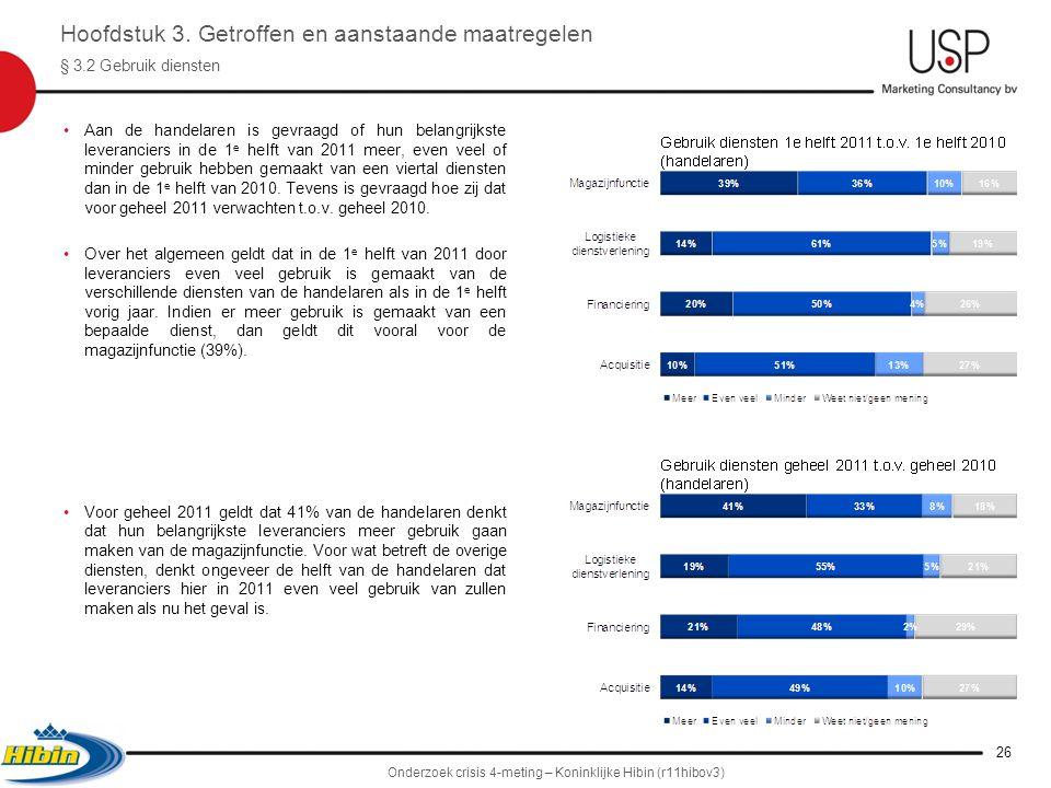 •Aan de handelaren is gevraagd of hun belangrijkste leveranciers in de 1 e helft van 2011 meer, even veel of minder gebruik hebben gemaakt van een viertal diensten dan in de 1 e helft van 2010.