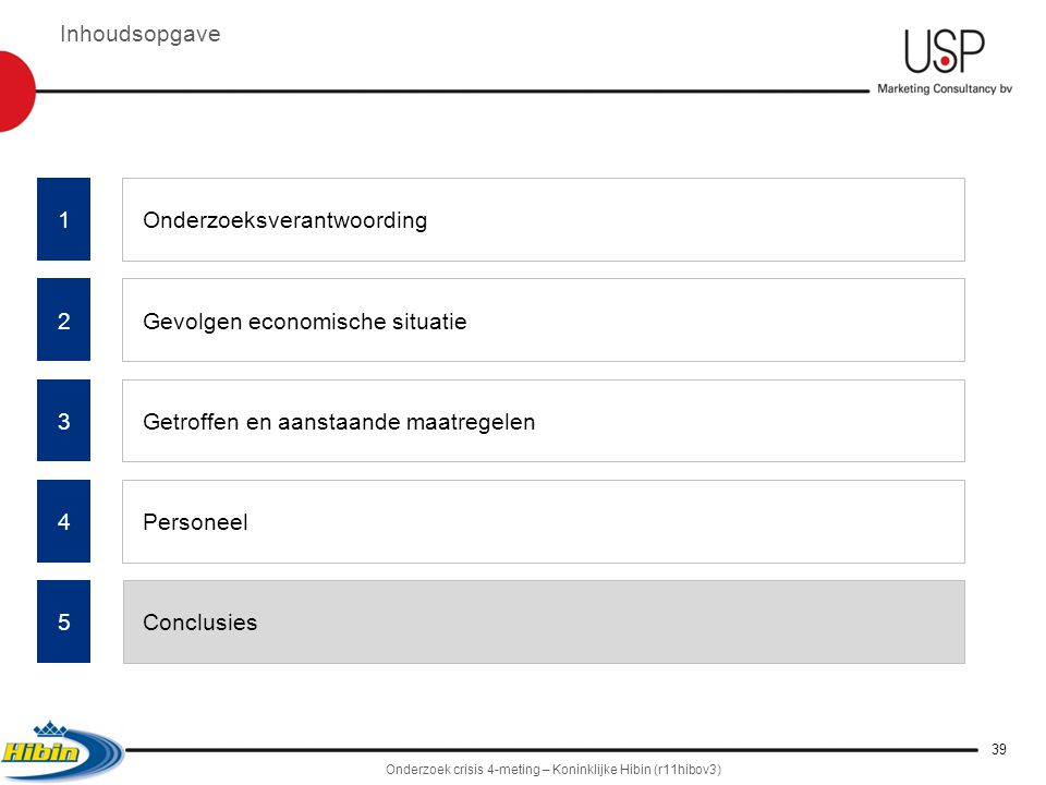 5 4 2 Onderzoeksverantwoording Gevolgen economische situatie Getroffen en aanstaande maatregelen Personeel Conclusies Inhoudsopgave 3 Onderzoek crisis 4-meting – Koninklijke Hibin (r11hibov3) 39 1