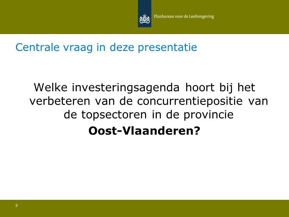 Centrale vraag in deze presentatie 2 Welke investeringsagenda hoort bij het verbeteren van de concurrentiepositie van de topsectoren in de provincie O