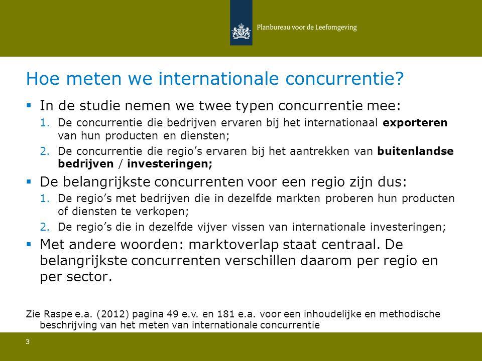 Hoe meten we internationale concurrentie? 3  In de studie nemen we twee typen concurrentie mee: 1.De concurrentie die bedrijven ervaren bij het inter
