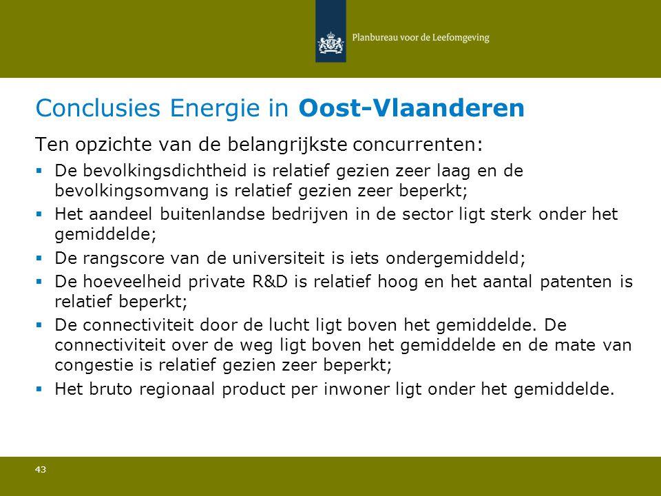 Conclusies Energie in Oost-Vlaanderen 43 Ten opzichte van de belangrijkste concurrenten:  De bevolkingsdichtheid is relatief gezien zeer laag en de b