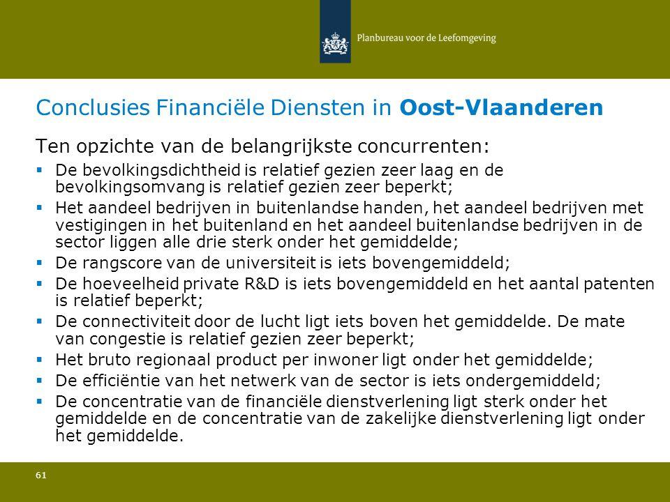 Conclusies Financiële Diensten in Oost-Vlaanderen 61 Ten opzichte van de belangrijkste concurrenten:  De bevolkingsdichtheid is relatief gezien zeer