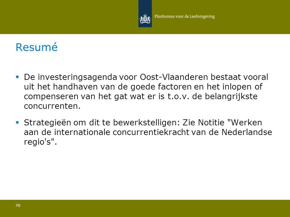  De investeringsagenda voor Oost-Vlaanderen bestaat vooral uit het handhaven van de goede factoren en het inlopen of compenseren van het gat wat er i
