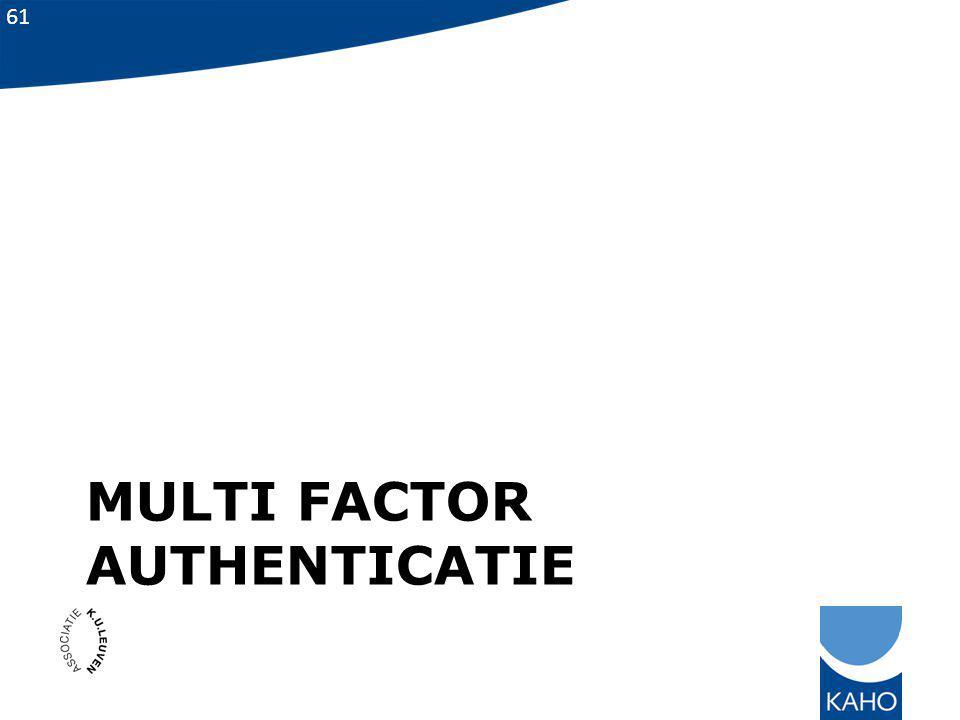 61 MULTI FACTOR AUTHENTICATIE
