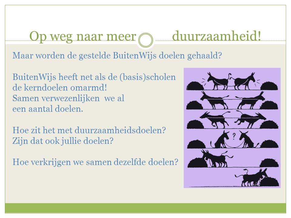 Op weg naar meer duurzaamheid! Maar worden de gestelde BuitenWijs doelen gehaald? BuitenWijs heeft net als de (basis)scholen de kerndoelen omarmd! Sam