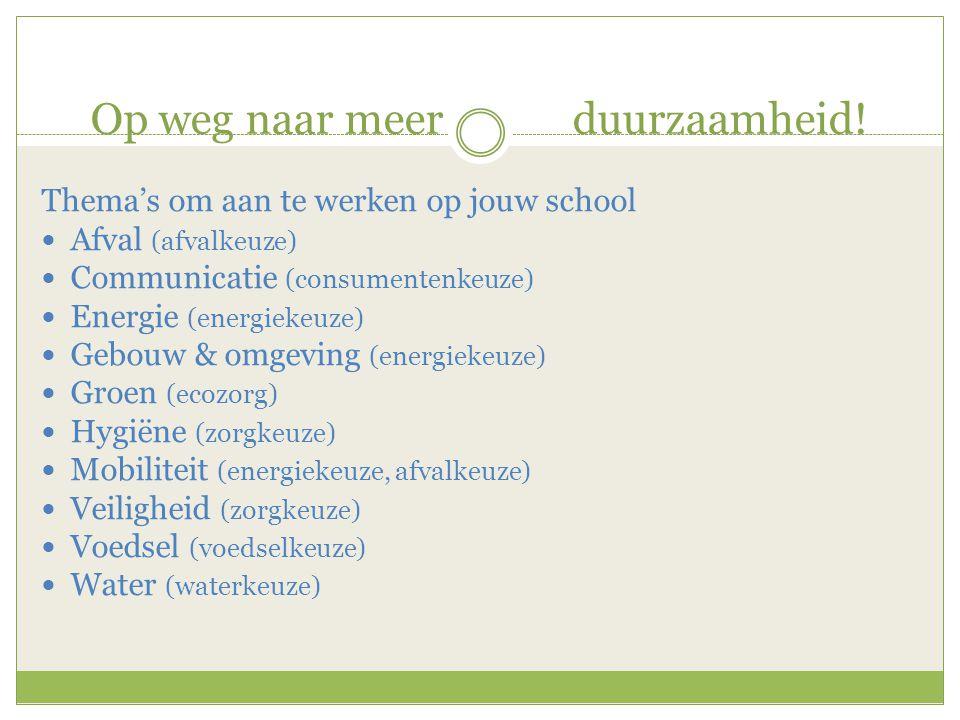 Op weg naar meer duurzaamheid! Thema's om aan te werken op jouw school  Afval (afvalkeuze)  Communicatie (consumentenkeuze)  Energie (energiekeuze)