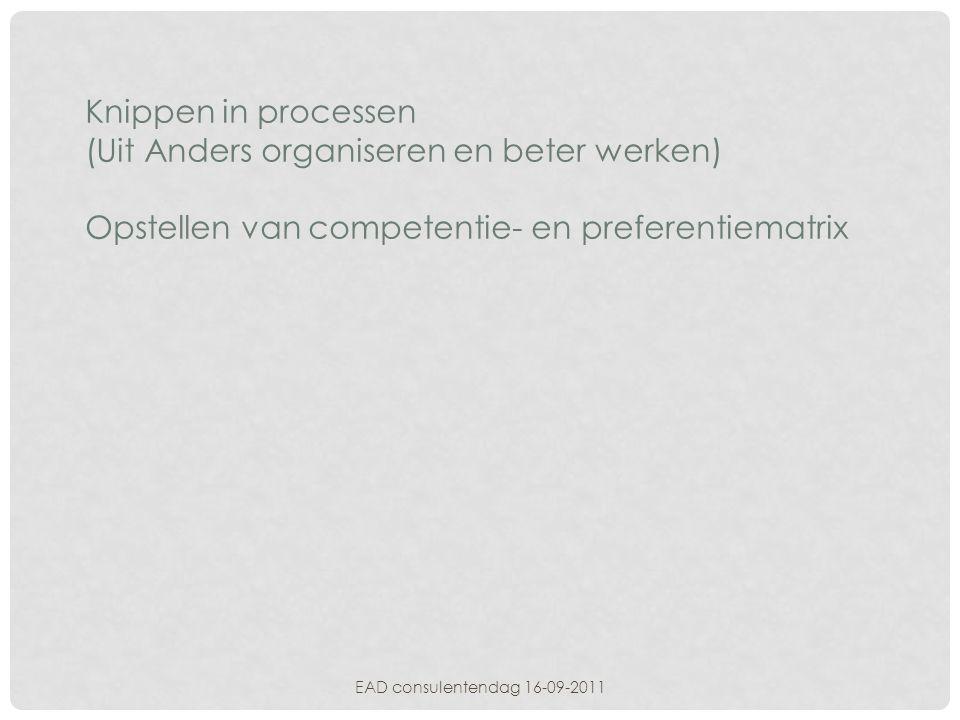 Knippen in processen (Uit Anders organiseren en beter werken) Opstellen van competentie- en preferentiematrix