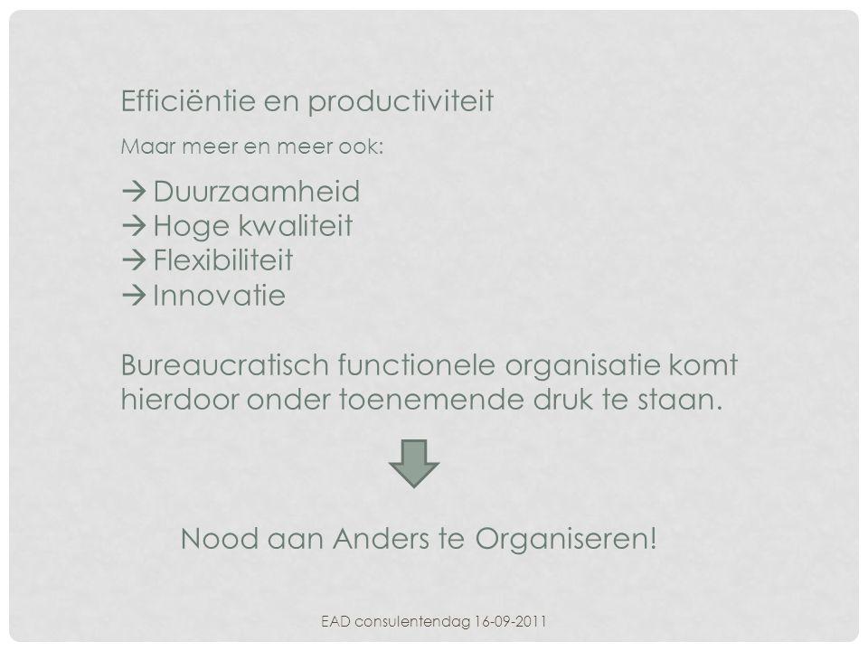 EAD consulentendag 16-09-2011 Sociale innovatie  Orderstromen centraal stellen  Sorteren nodig: vaak lastig proces  Zo onafhankelijk mogelijk kunnen functioneren (stelregel: voorbereidende en ondersteunende functies in de stroom tenzij goede reden om dat niet te doen) Voordeel:  simpel  slank  slagvaardig